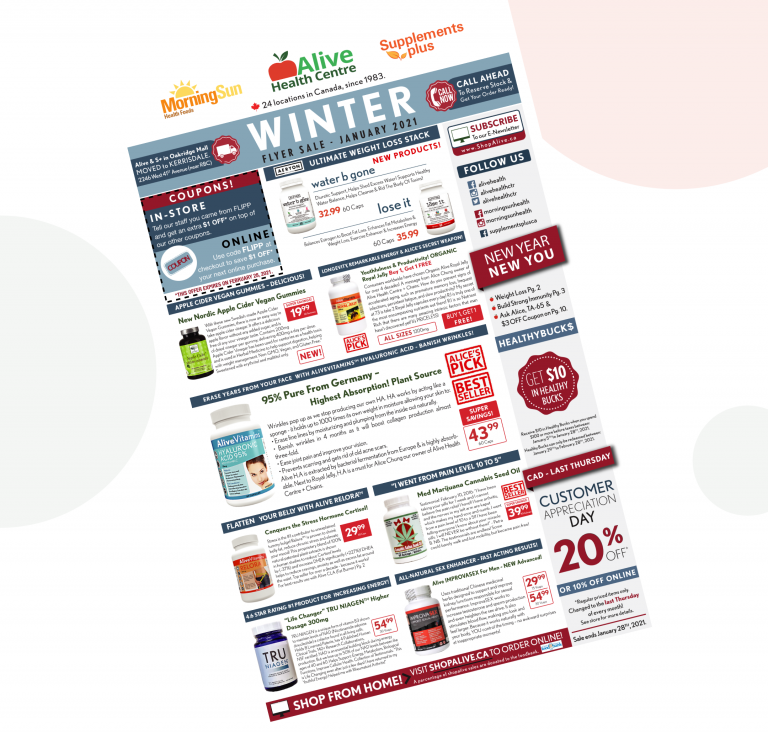 Sale On NOW at Alive, Morning Sun, Supplements Plus & ShopAlive.ca
